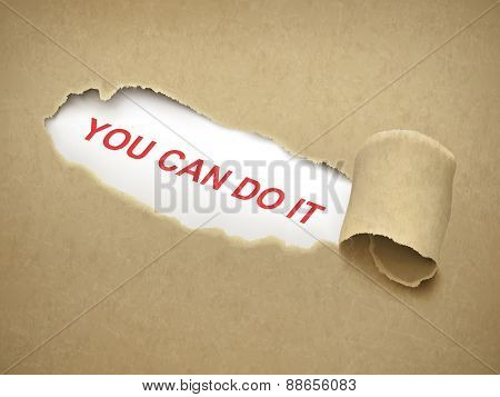 You Can Do It Words Behind Torn Paper