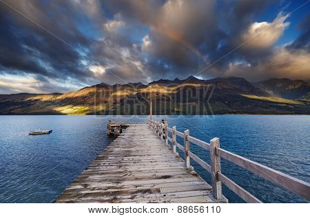 Wooden pier, Wakatipu Lake, Glenorchy, New Zealand