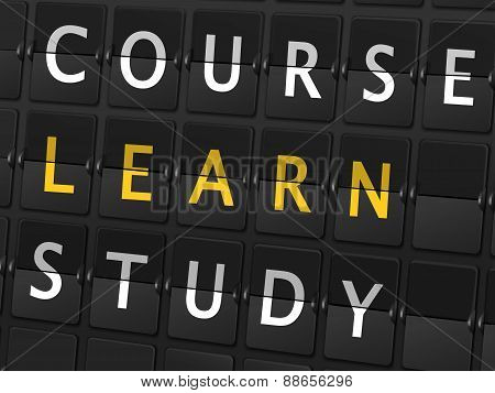 Course Learn Study Words On Airport Board