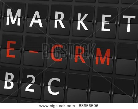 Market E-crm B2C Words On Airport Board