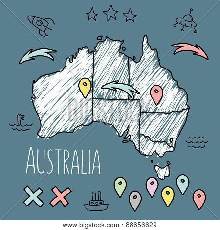 Doodle Australia Map On Blue Chalkboard With Pins And Extras Vector Illustration