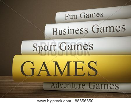 Book Title Of Games Isolated On A Wooden Table