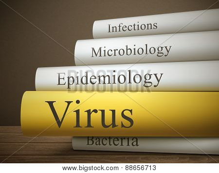 Book Title Of Virus Isolated On A Wooden Table