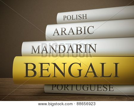 Book Title Of Bengali Isolated On A Wooden Table