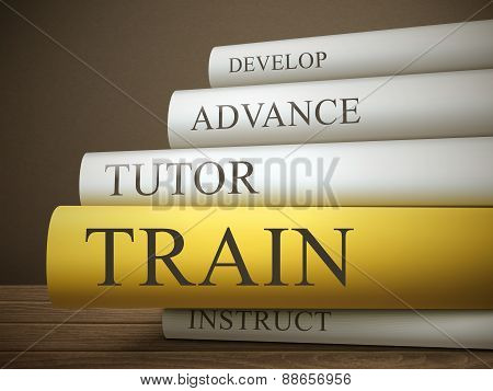 Book Title Of Train Isolated On A Wooden Table
