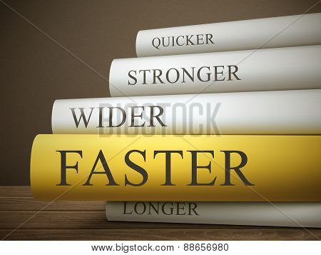 Book Title Of Faster Isolated On A Wooden Table