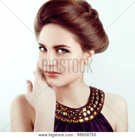 Beautiful Woman With Healthy Pale Skin And Gray Eyes Smiling