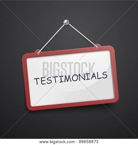 Testimonials Hanging Sign
