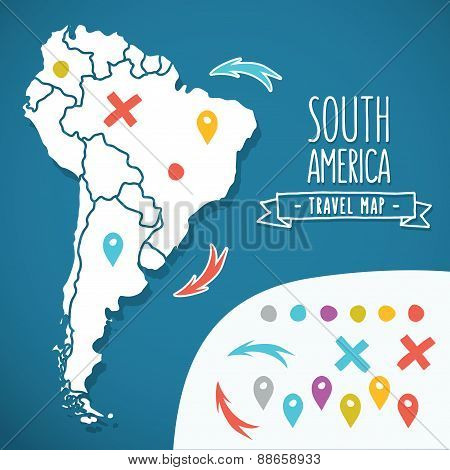 Hand drawn South America travel map with pins vector illustration