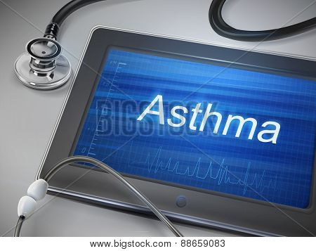 Asthma Word Display On Tablet