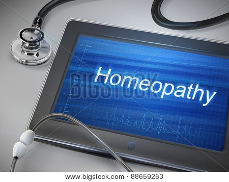 Homeopathy Word Display On Tablet