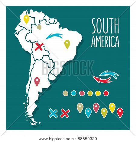 Vintage Hand drawn South America travel map with pins vector illustration