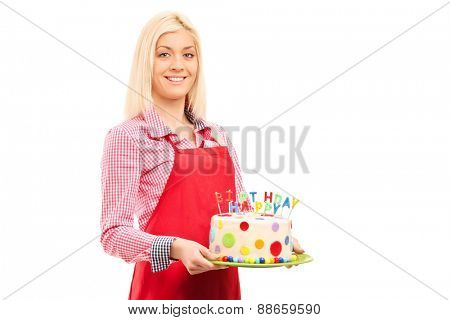 Young mother holding birthday cake isolated on white background