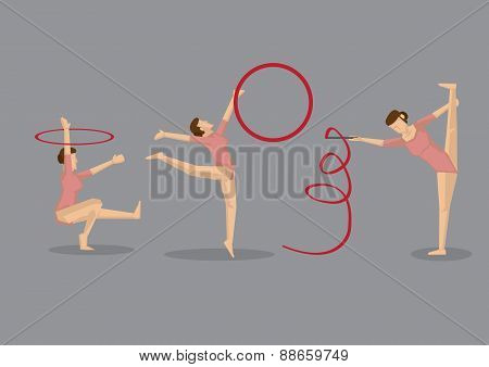 Gymnast Woman Performing Gymnastic Floor Exercises