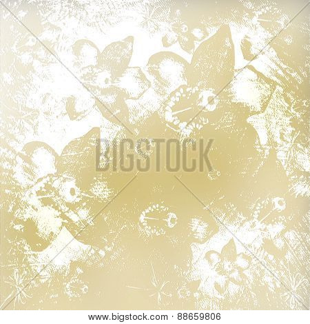 Light Golden Watercolor Brush Strokes With Floral Ornamental Background