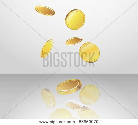 Conceptual design of falling golden coins