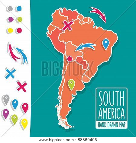Cartoon style hand drawn travel map of South America with pins vector illustration
