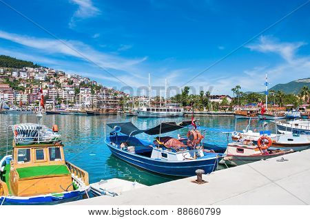 Tourist Boats In The Port Of Alanya, Turkey.