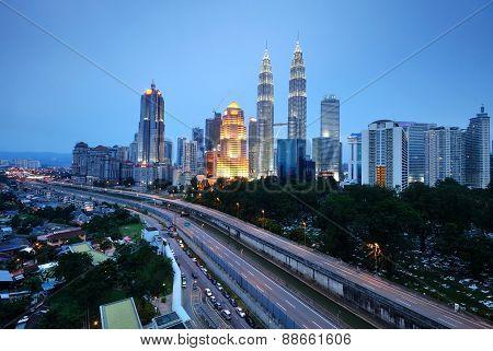 Horizontal Shot Of Kuala Lumpur Night Scenery During Blue Hour.