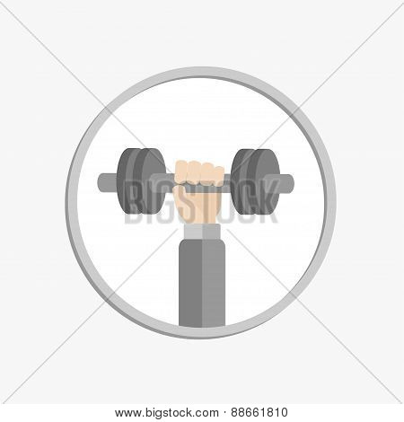 Hand Holding Dumbell Round Icon Sport Fitness Healthy Lifestyle Concept Flat Design