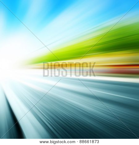 Abstract image of speed motion on the city street.