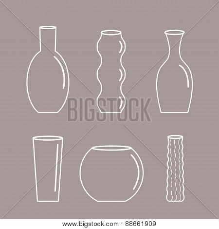 Vase Outline Icon Set Ceramic Pottery Glass Flower Decoration Flat Design Gray Background