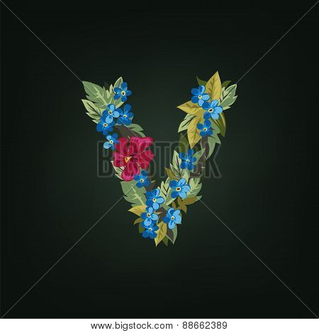v letter. Flower  alphabet. Colorful font. Lowercase.