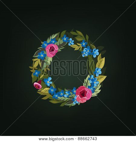 o  letter. Flower  alphabet. Colorful font. Lowercase.