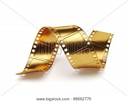 Golden Film Strip Isolated On White Background. Entertainment Concept