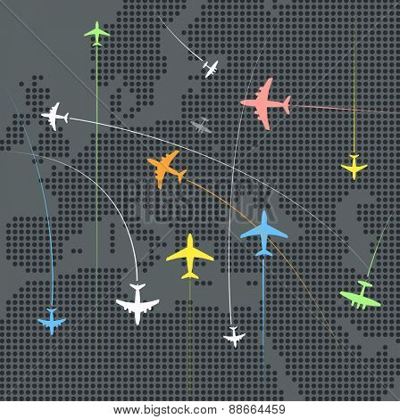 Airplanes flying over the abstract map of europe