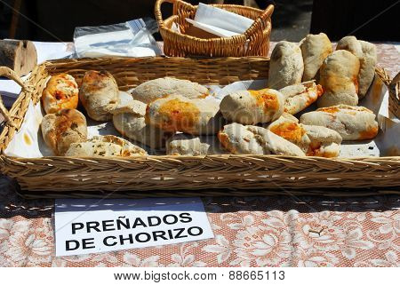 Rustic bread at a Medieval market.
