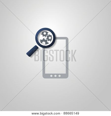 Analysis or Bugfix Symbol Concept with Magnifying Glass Icon and Gears on a Smart Phone
