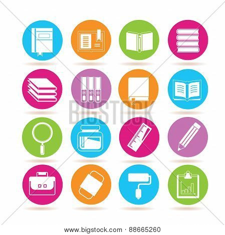 stationery and book icons