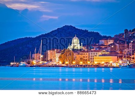 Unesco Town Of Sibenik Blue Hour View