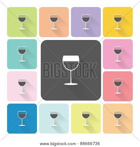 Glass Wine Icon Color Set Vector Illustration