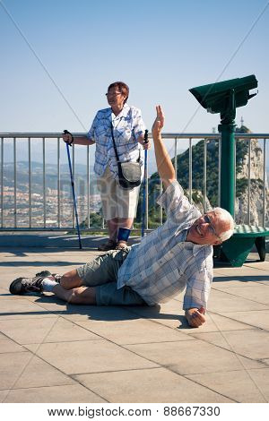 Hilarious Senior Man Tourist On Gibraltar Rock