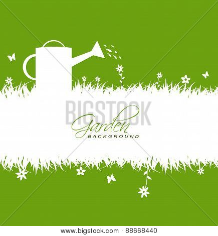 Garden Background With Grass,flowers,butterflies ,watering Can And Hoe