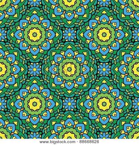 Squared Background - Ornamental Seamless Pattern In Green, Yellow And Blue Colors. Design For Bandan