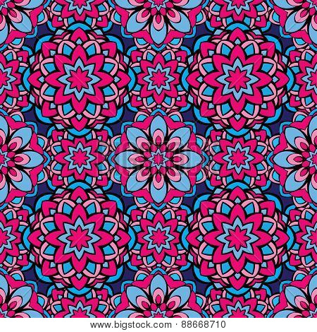 Squared Background - Ornamental Seamless Pattern In Pink And Blue Colors. Design For Bandanna, Carpe
