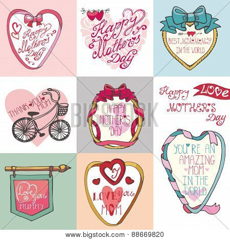 Mothers day cards set.Frames, decor elements,hearts,lettering