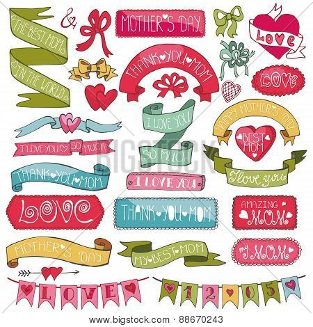 Mothers colored decor set.Hand drawing Ribbons,lettering,badges