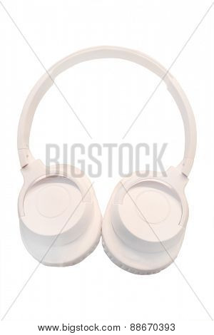 White headphones isolated under the white background
