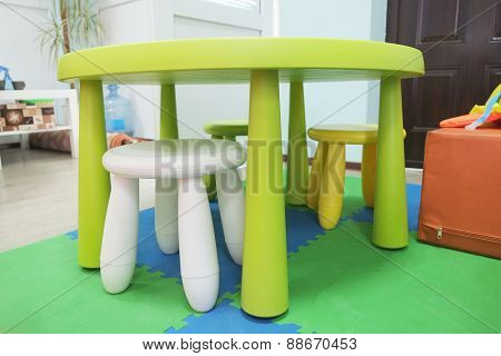 Colorful plastic kid chairs and table