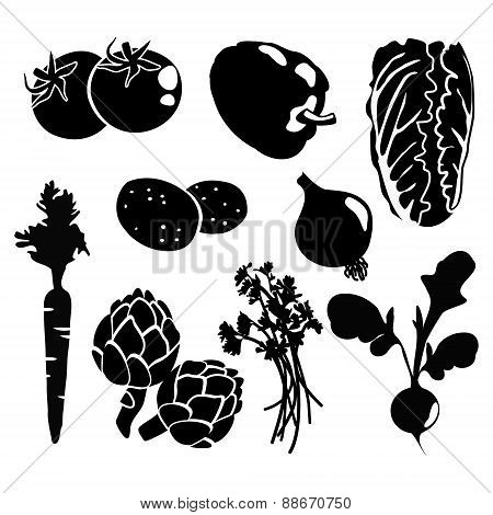 Black Isolated Vegetables Silhouettes Icons, Isolated Vectors