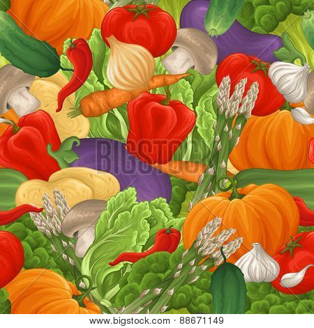 Vegetable seamless pattern with lot of vegetables