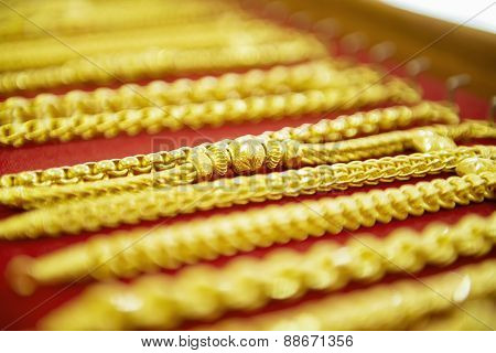 collection of golden bracelet.