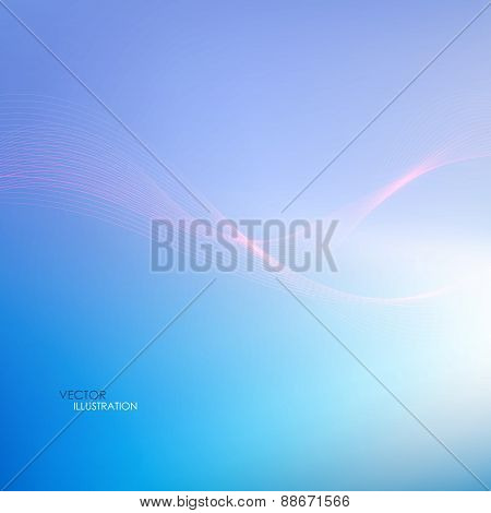 Abstract Blue Background With Lines. Vector Illustration
