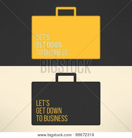 Business text background on a suitcase sign. Yellow text frame on gray background. Vector illustrati