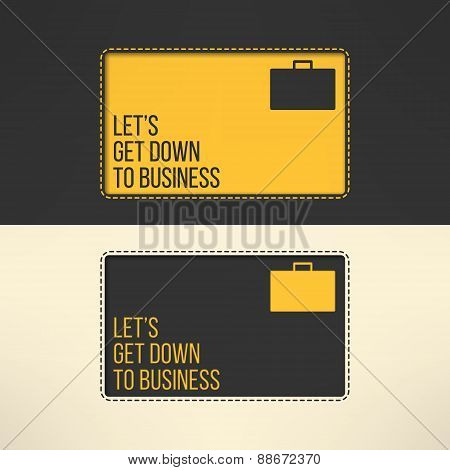 Business text background with a suitcase sign. Yellow text frame on gray background. Vector illustra