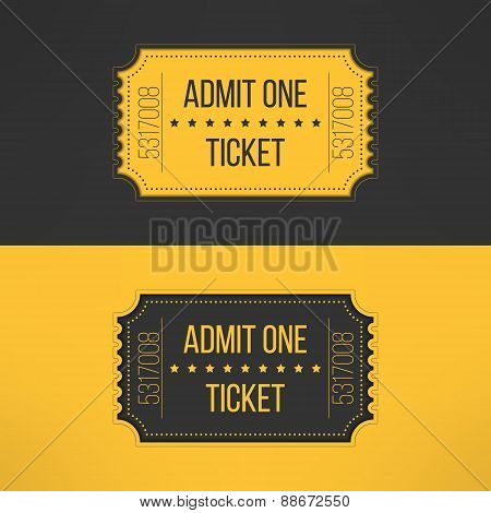 Entry ticket in stylish vintage style. Admit one cinema, theater, zoo, festival, carnival, concert,